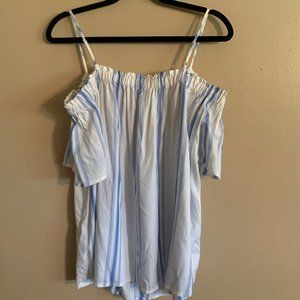 White and Blue Off the Shoulder Shirt